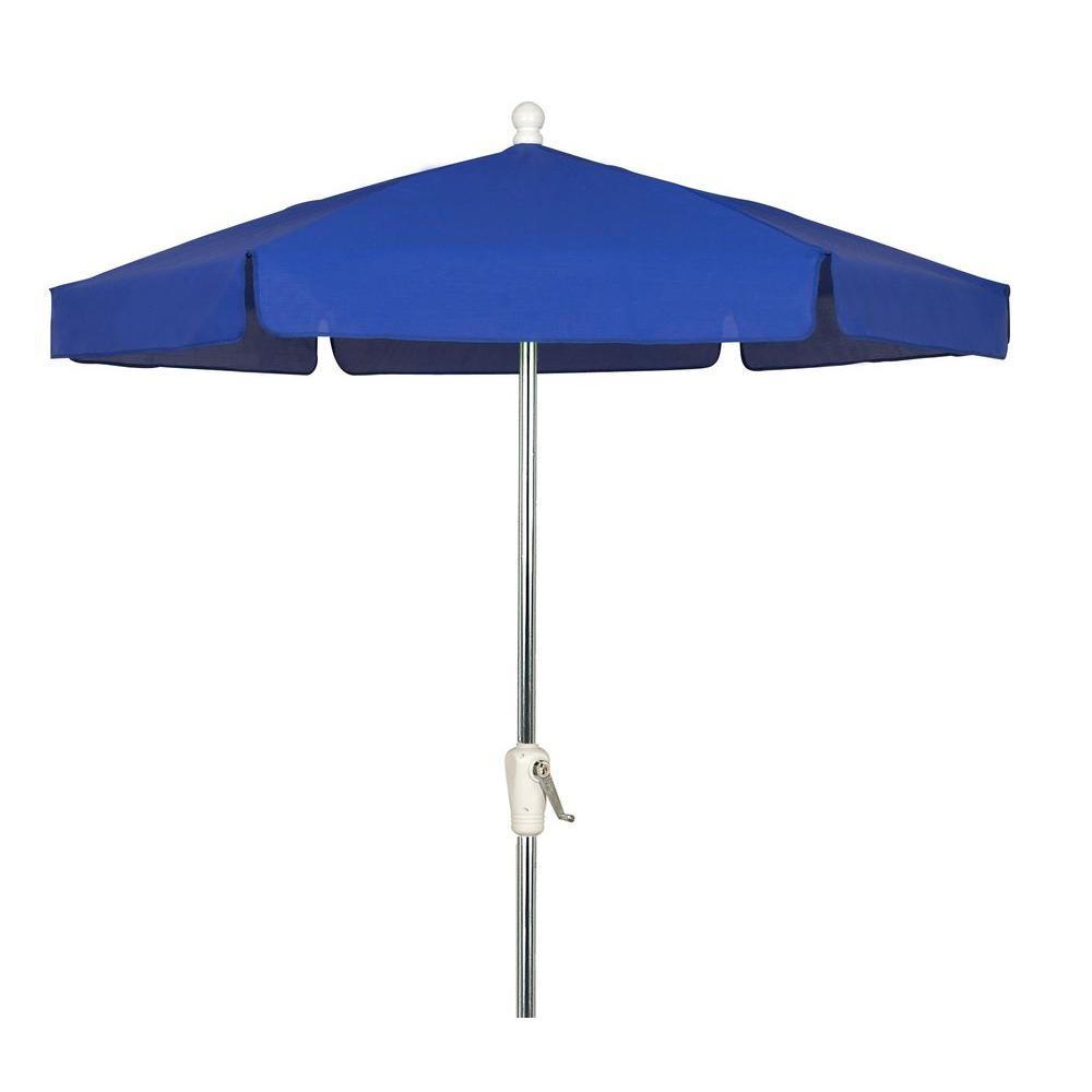 7.5 ft. Aluminum Patio Umbrella with Pacific Blue Vinyl Coated Weave