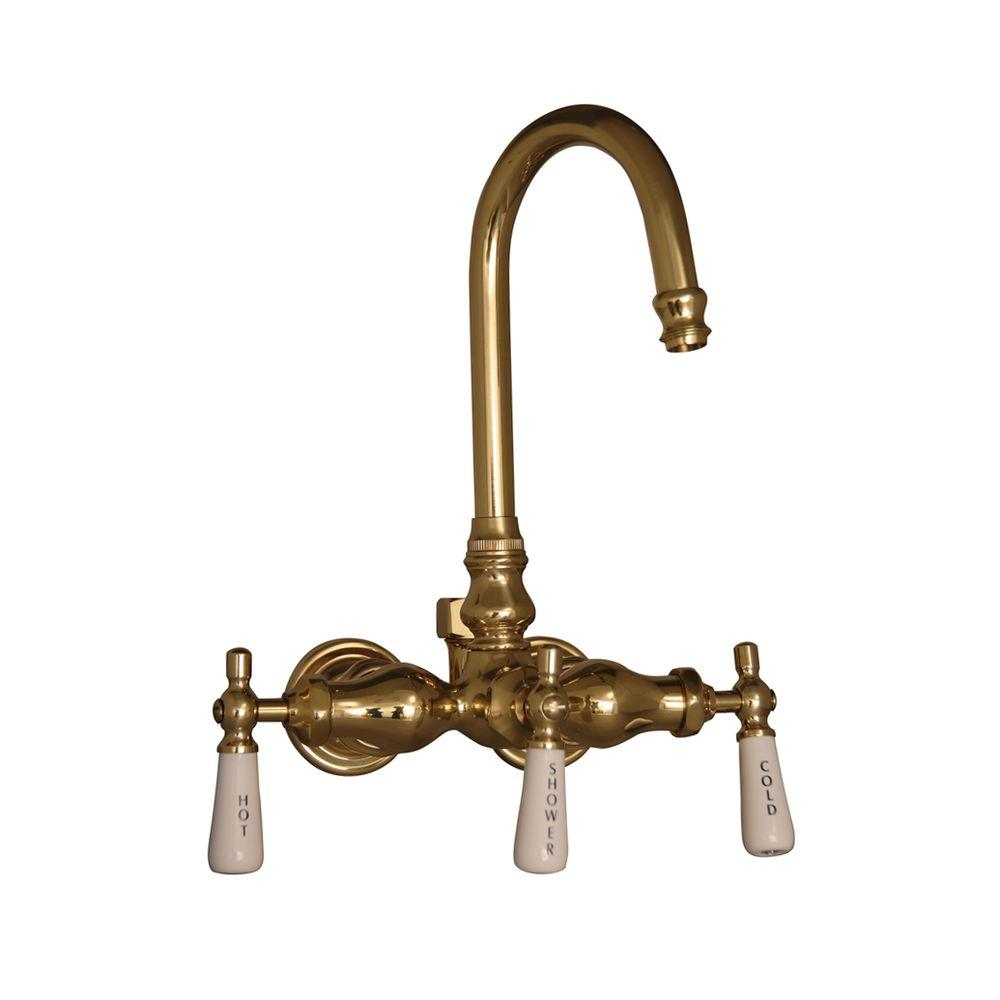 Pegasus 3-Handle Claw Foot Tub Faucet without Hand Shower for Acrylic Tub in Polished Brass