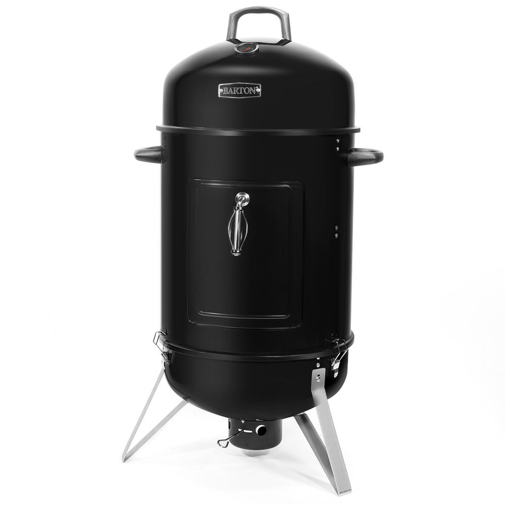 18 in. Portable Vertical Round Charcoal Smoker with Built-In Thermometer