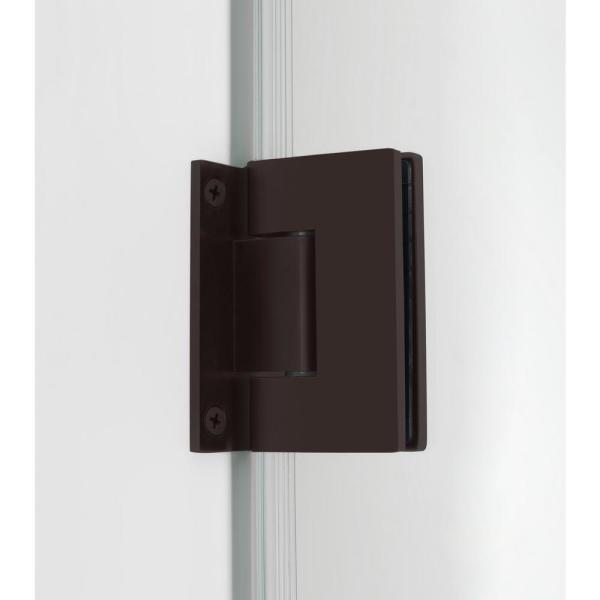 Aston Nautis Gs 39 25 40 25 In X 72 In Frameless Hinged Shower Door With Glass Shelves In New Bronze Sdr990 Nbr 40 10 The Home Depot