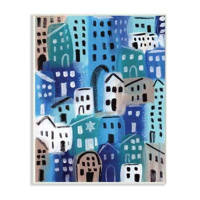 "10 in. x 15 in. ""Painterly Blue Abstract Cityscape in Shades of Blue"" by Linda Woods Wood Wall Art"