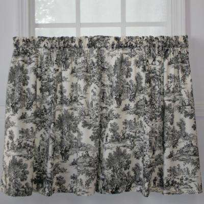 Victoria Park  68 in. W x 24 in. L Toile Black CottonTailored Tier Pair Curtains in Black