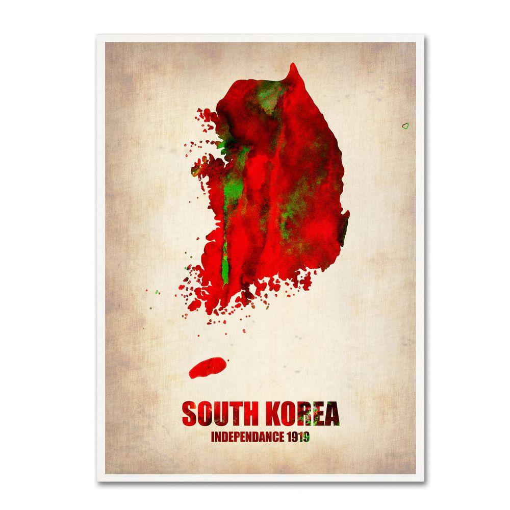 Trademark Fine Art 47 in. x 35 in. South Korea Watercolor Map Canvas Art