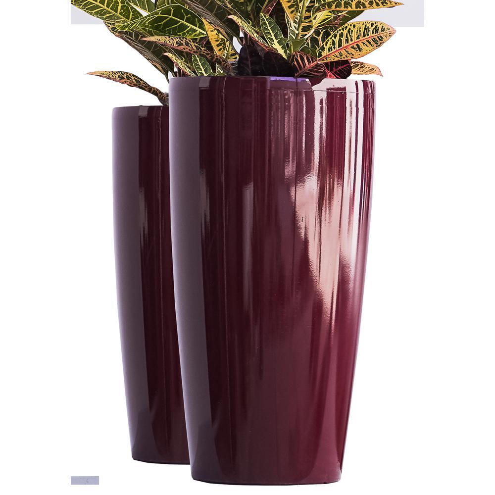 "Set of 2 11/"" BLACK SERENE SQUARE PLASTIC PLANTERS pots flower planter"