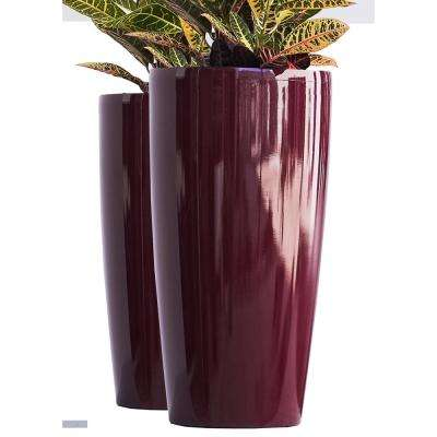 Xbrand 30 in. Tall Red Plastic Nested Self Watering Indoor/Outdoor Tall Round Planter Pot (Set of 2)