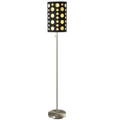 62 in. Black and Yellow Stainless Steel High Modern Retro Floor Lamp