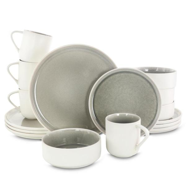 Global Edge 16-Piece Round Light Gray Stoneware Dinnerware Set