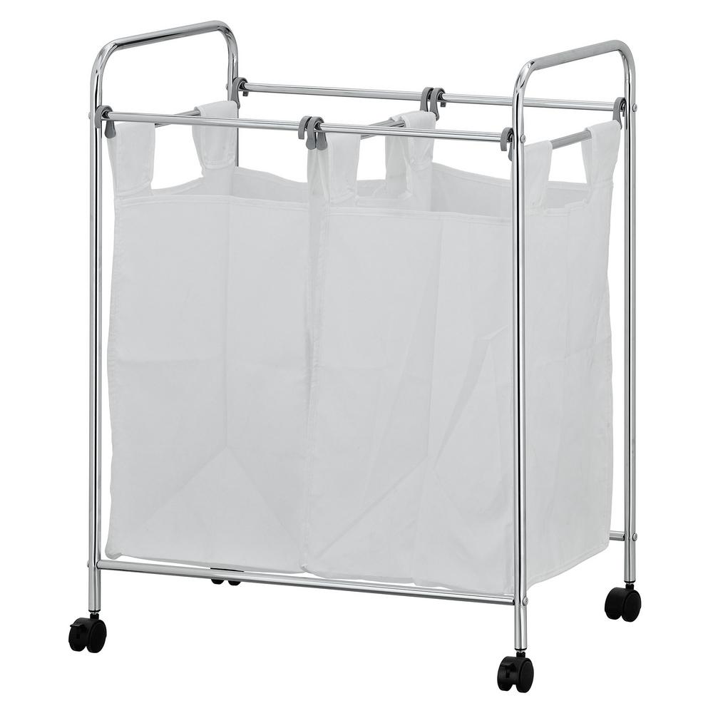Furinno Wayar White Chrome Laundry Sorter with Removable ...