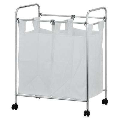 Wayar White Chrome Laundry Sorter with Removable Bags