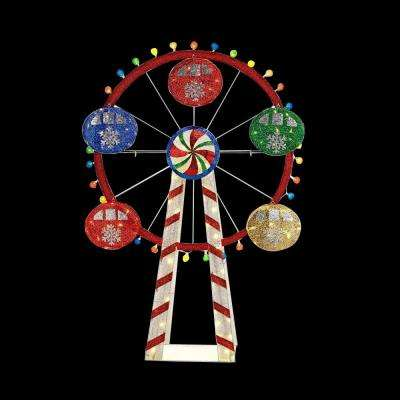 72 in. LED Lighted Mesh String Ferris Wheel
