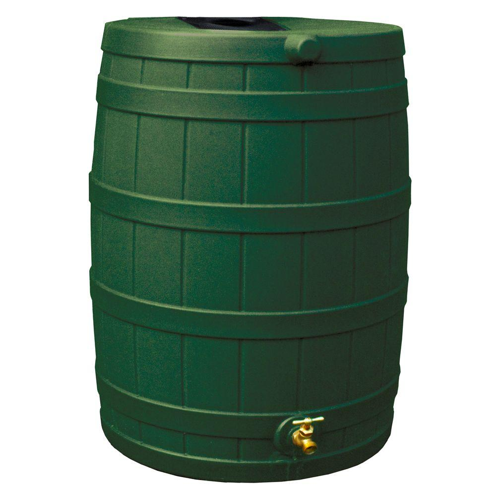 Rain Wizard 50 gal. Rain Barrel in Green with Flat Back-DISCONTINUED