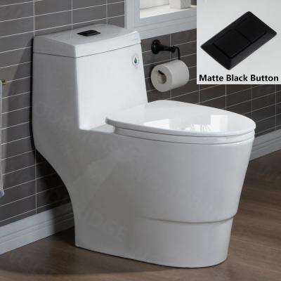 Everette 1-piece 1.28GPF Dual Flush Elongated Toilet in White with MaP Flush 1000 Grams and Toilet Seat Included