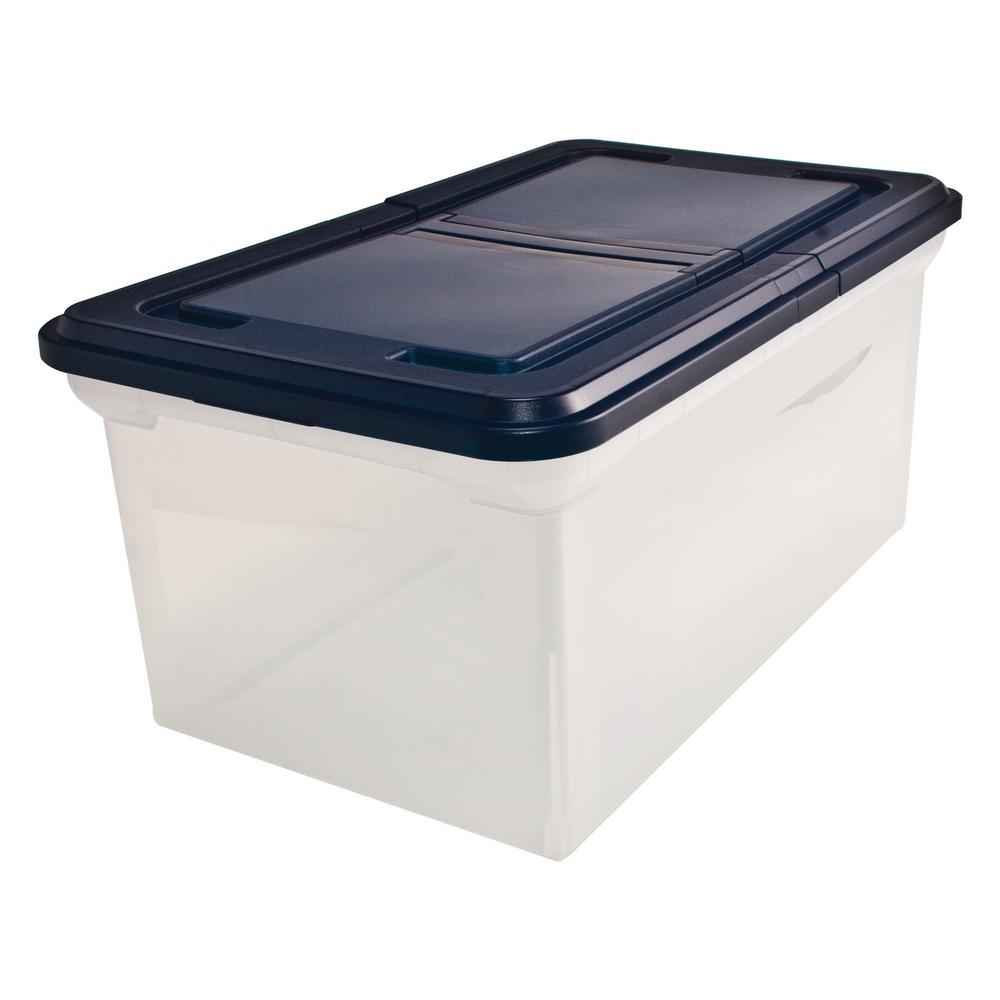 advantus 15 gal 23 in storage tote with lid in clear 55797 the home depot. Black Bedroom Furniture Sets. Home Design Ideas