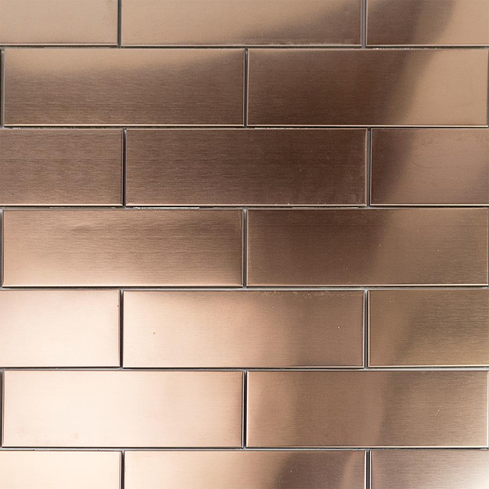 Splashback Tile Metal Copper 2 In X 6 8 Mm Stainless Steel