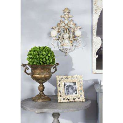 Distressed White Ornate 2-Light Candle Sconce