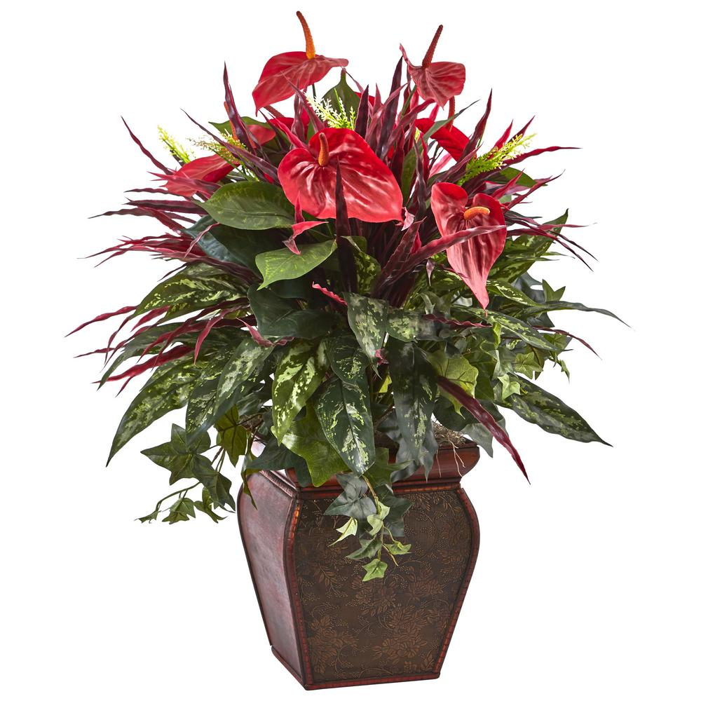 28 in. Anthurium Mixed Plant with Planter
