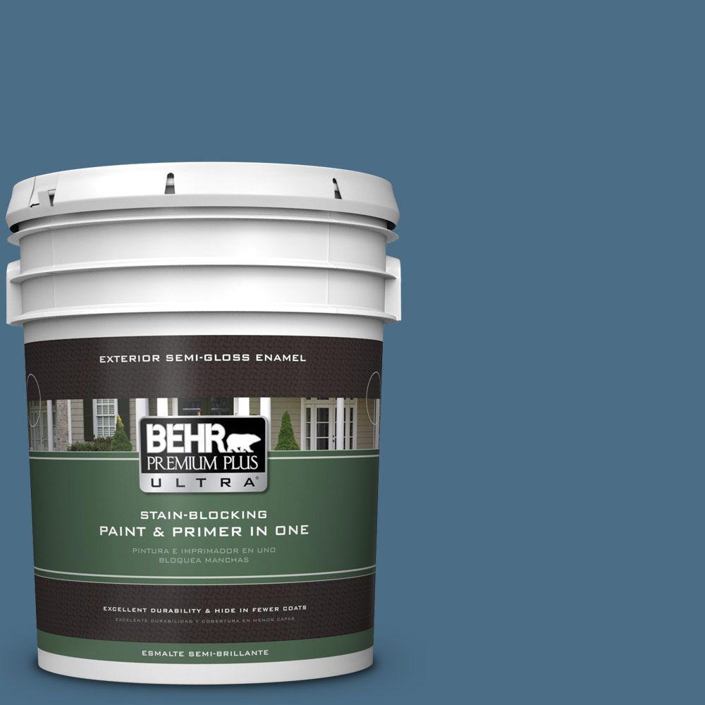 Behr Premium Plus Ultra 5 Gal 570d 6 Neptune Blue Semi Gloss Enamel Exterior Paint 585305