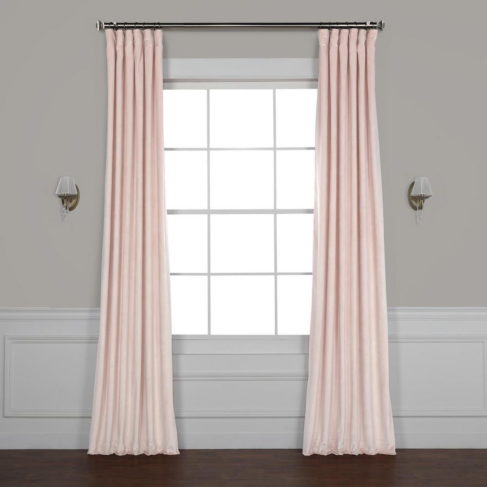 Ballet Pink Plush Velvet Curtain - 50 in. W x 84 in. L