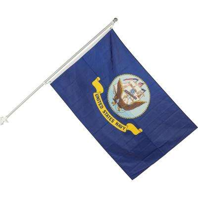 3 ft. x 5 ft. Nylon U.S. Navy Two Sided House Flag with 6 ft. Aluminum Flagpole (1-Pack)