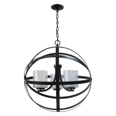 3-Light Plise Oil Rubbed Bronze Chandelier with Clear Seeded Outer and Frosted Inner Glass