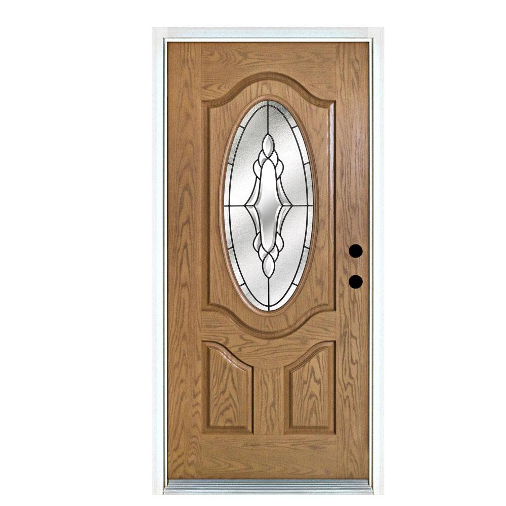 This Review Is From 36 In X 80 Andaman Light Oak Left Hand Inswing 3 4 Oval Lite Decorative Fibergl Prehung Front Door