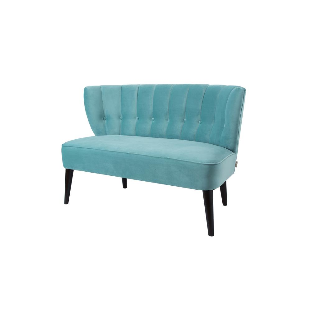 Becca Arctic Blue Tufted Settee
