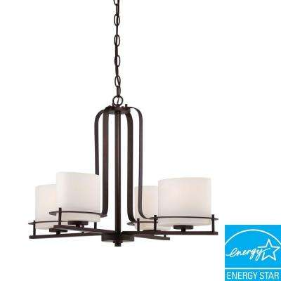 4-Light Venetian Bronze Chandelier with Oval Frosted Glass Shade