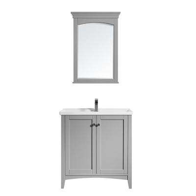 Asti 30 in. W x 18 in. D x 33 in. H Bath Vanity in Grey with Ceramic Vanity Top in White with White Basin and Mirror
