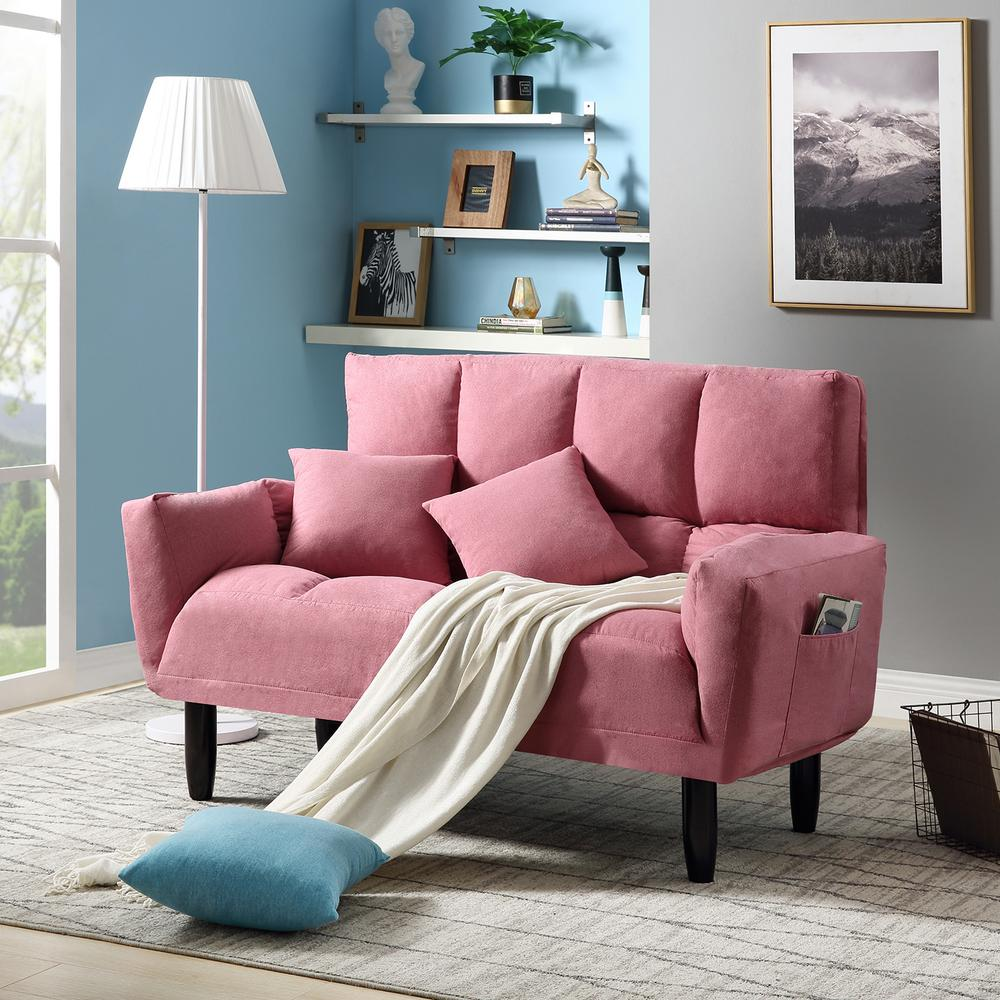 Super Harper Bright Designs Pink Chic Loveseat Sleeper Sofa Pabps2019 Chair Design Images Pabps2019Com