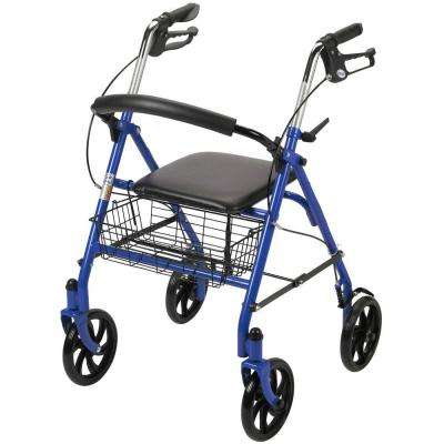 4-Wheel Walker Rollator with Fold Up Removable Back Support in Blue