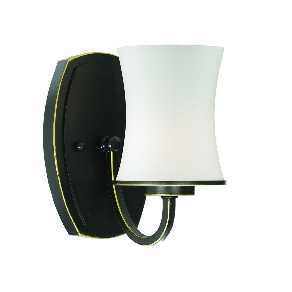 null Dorado Collection 1-Light Aged Bronze Wall Sconce with Opal Shade-DISCONTINUED