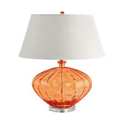 25 in. Orange Recycled Fluted Glass Urn Table Lamp