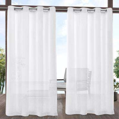 Tao White Sheer Indoor/Outdoor Grommet Top Curtain - 54 in. W x 96 in. L
