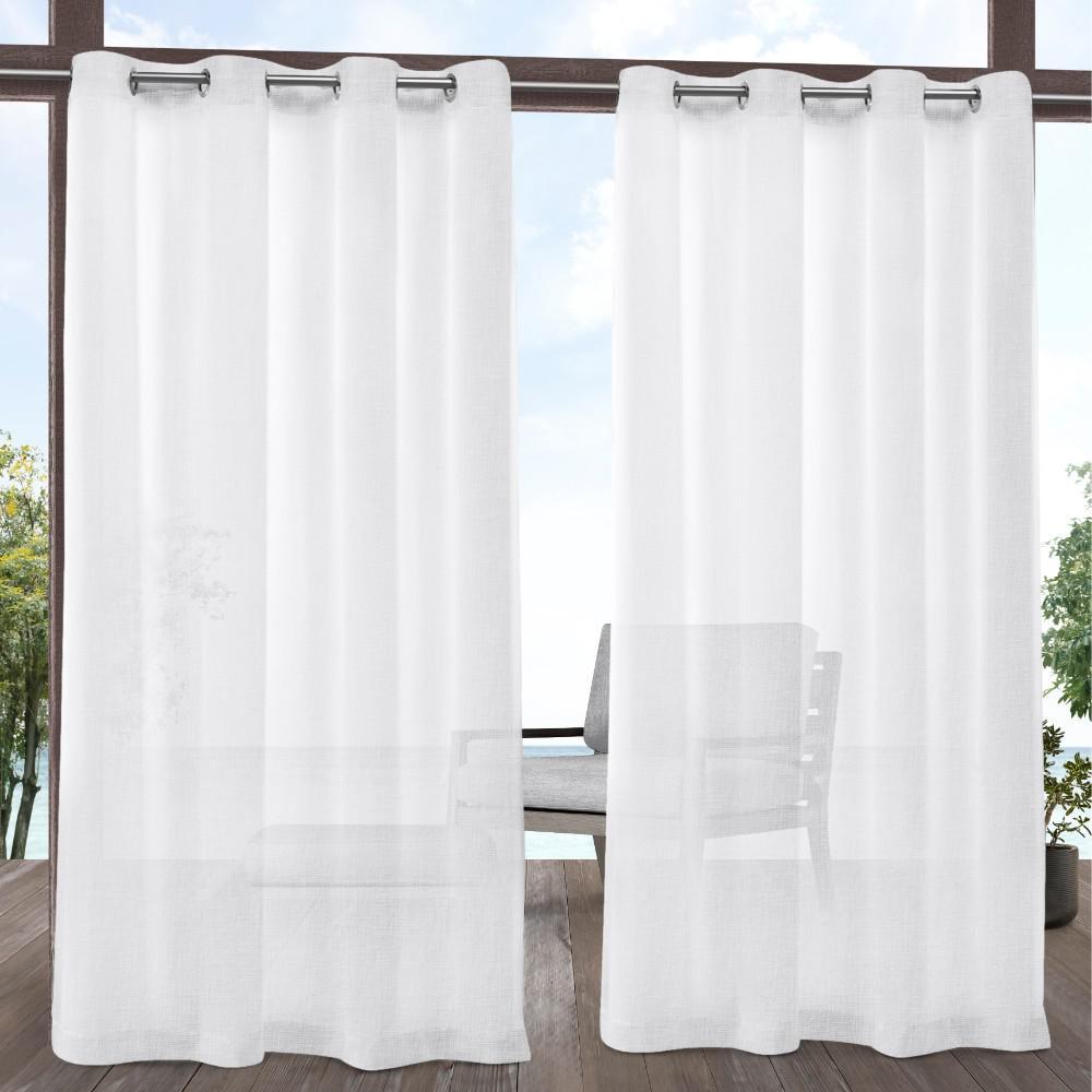 Tao 54 in. W x 96 in. L Indoor Outdoor Sheer Grommet Top Curtain Panel in White (2 Panels)