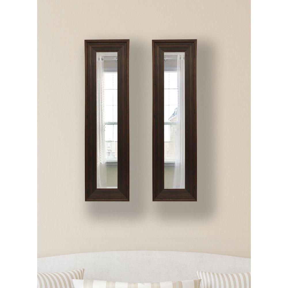 11.75 in. x 32.75 in. Barnwood Brown Vanity Mirror (Set of 2-Panels)