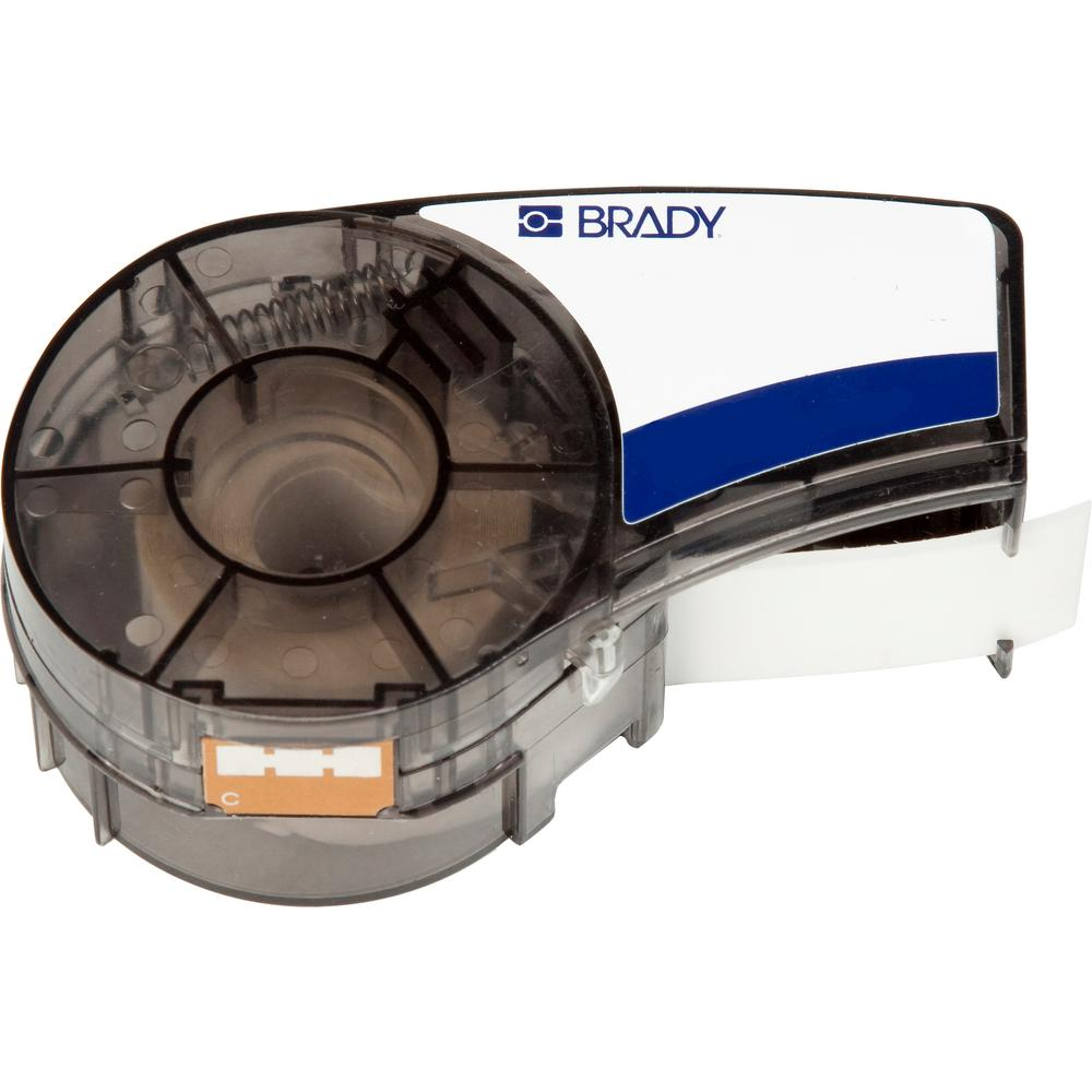 Brady BMP21 Series Label Cartridge 0.375 in. W x 21 ft. L B595 Indoor/Outdoor Vinyl Cartridge, White on Brown Labels