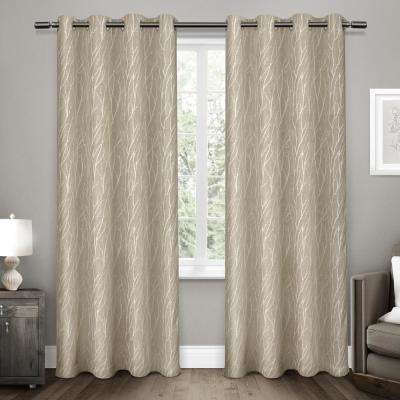 Forest Hill 52 in. W x 108 in. L Woven Blackout Grommet Top Curtain Panel in Natural (2 Panels)