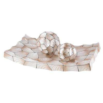 Beige Conch Shell Polyresin Decorative Plate With Spheres