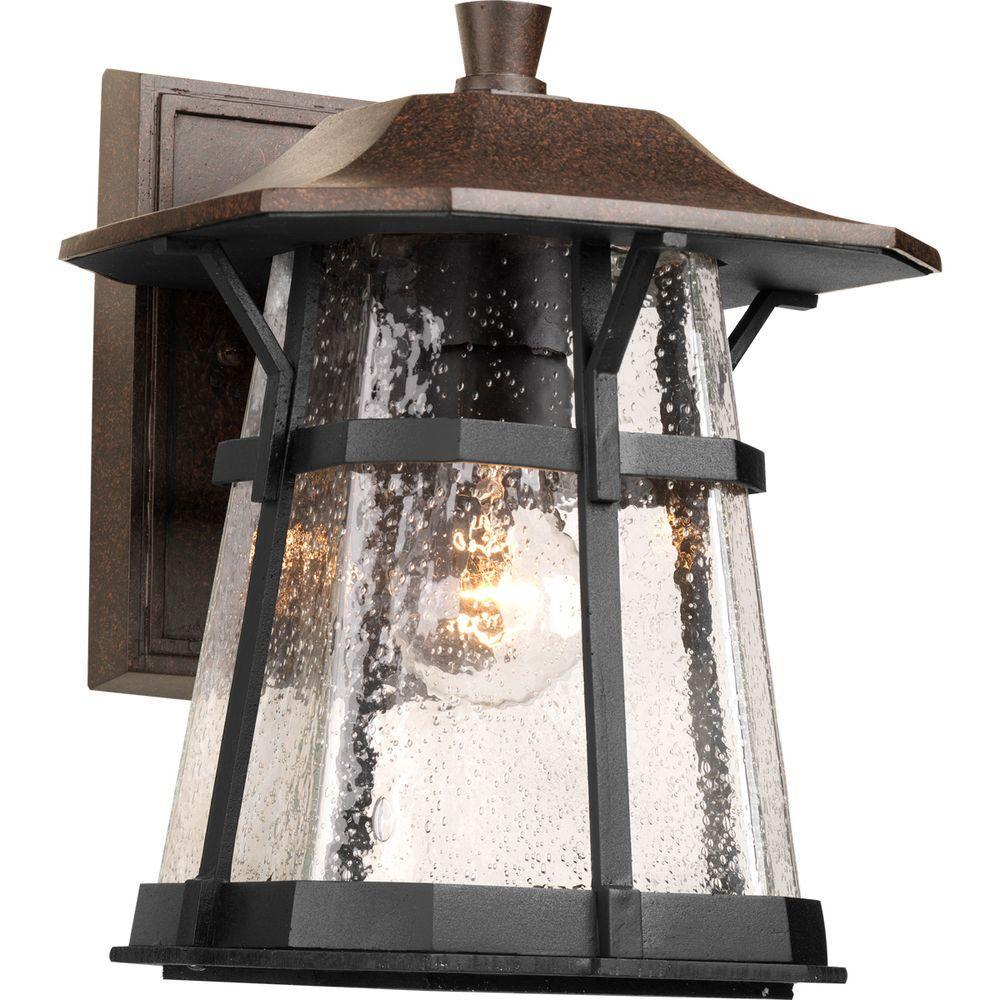 Derby Collection 1-Light Medium Espresso 11 in. Outdoor Wall Lantern
