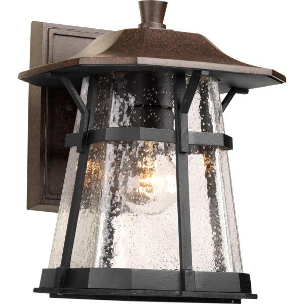 Derby Collection 1-Light Espresso 11 in. Outdoor Wall Lantern Sconce
