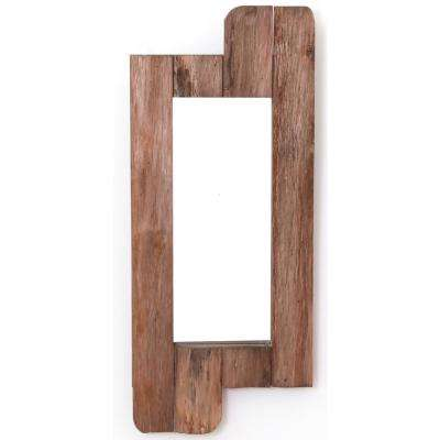 28 in. High Rustic Natural Barn Wood Framed Wall Mirror