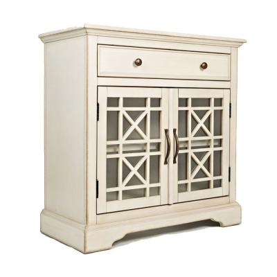 Craftmen Series Cream 32 in. Wooden Accent Cabinet with Fretwork Glass Front