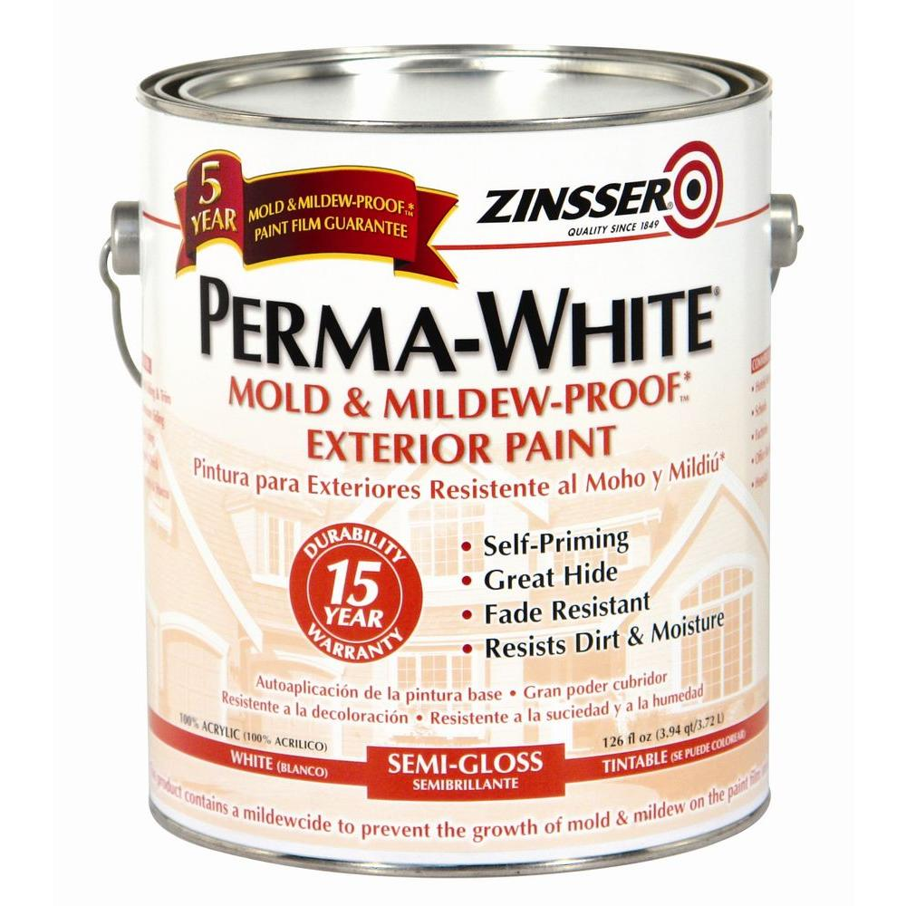 Mold Mildew Proof White Semi Gloss Exterior Paint 4 Pack