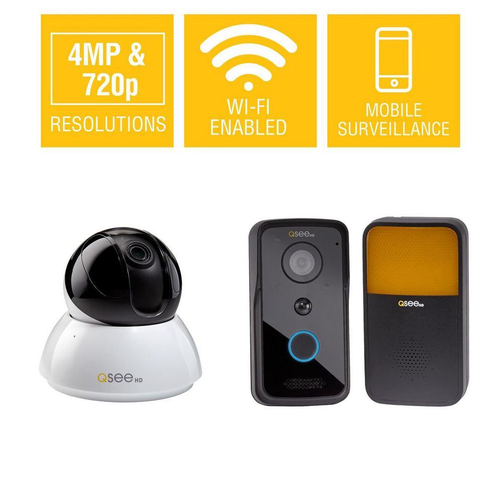 Q-See 4MP Wi-Fi Pan-Tilt Camera with 720p Wi-Fi Smart Vid...