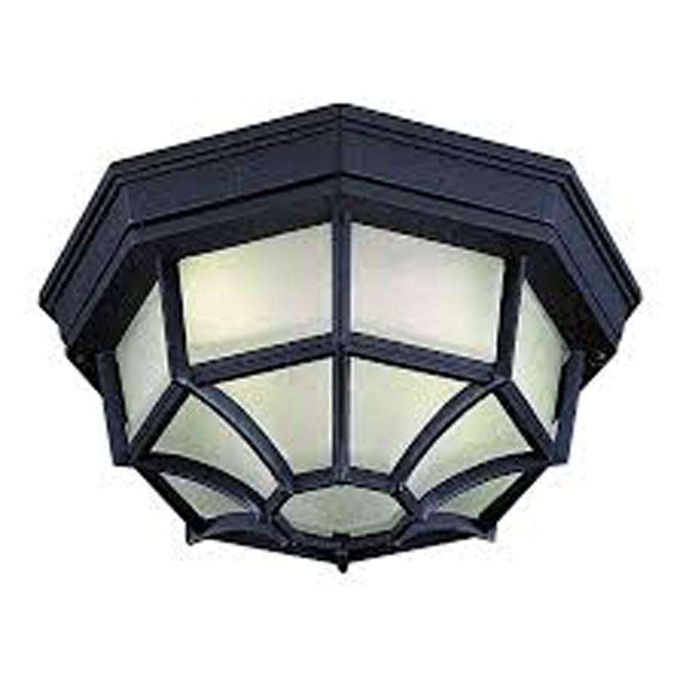 Filament Design Lenor 1-Light Black Fluorescent Ceiling Semi Flush Mount