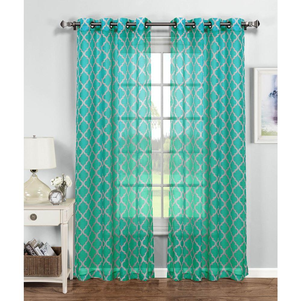 Window Elements Sheer Quatrafoil Printed Sheer Extra Wide 54 in. W x ...