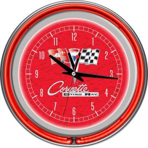 Trademark Global 14 inch Corvette C2 Red Chrome Double Ring Neon Wall Clock