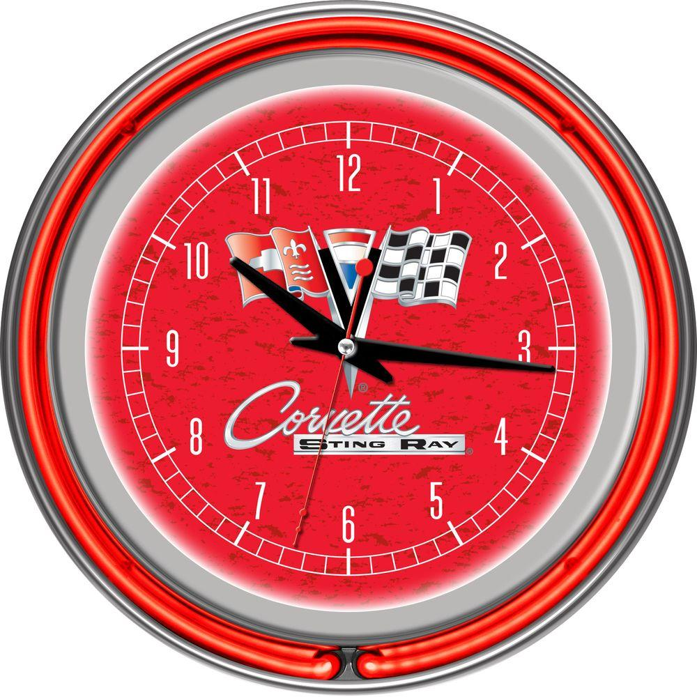 14 in. Corvette C2 Red Chrome Double Ring Neon Wall Clock