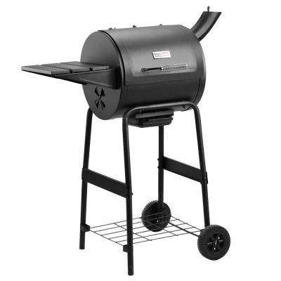 215 Sq, Charcoal Grill in Black with Side Table and Cart