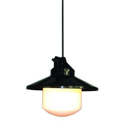 Black Outdoor Portable Pendant with Large Globe and Shade